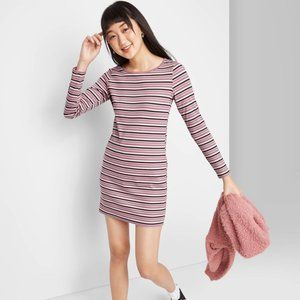 Wild Fable Striped LS Round Neck Knit Mini Dress